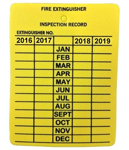 Fire Extinguisher inspection tag yellow 4 year 50 pack