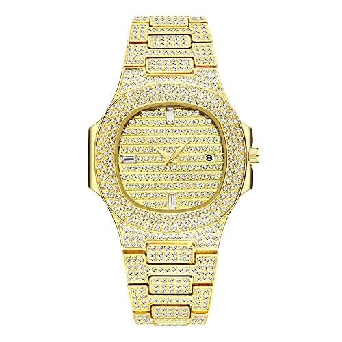 KLFJFD Reloj De Cuarzo Resistente Al Agua con Diamantes De Imitación con Calendario Informal A La Moda para Hombre, Regalo De Cumpleaños, Reloj Creativo con Personalidad para Banquetes De Moda
