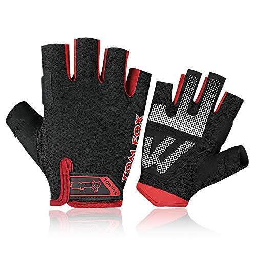 HobbyAnt Guantes de medio dedo para hombre, mujer, fitness, ciclismo, motocicleta, entrenamiento, gimnasio, ejercicio, deportes, talla M, color rojo
