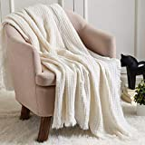 CREVENT Soft Lightweight Crochet Decorative Spring Summer Knit Throw Blanket for Couch Sofa Chair Bed Home Decoration (50''X60'' Off White/Ivory)