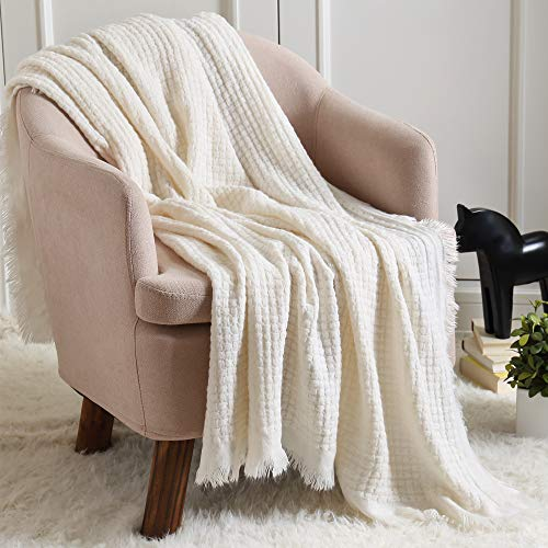 CREVENT Soft Lightweight Boho Crochet Decorative Spring Throw Blanket for Couch Sofa Chair Bed Home Decoration (50''X60'' Off White/Ivory)