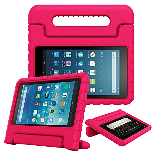 Fintie Case for Fire HD 8 Tablet (7th and 8th Generation Tablets, 2017 and 2018 Releases) - [Kids Friendly] Shock Proof Light Weight Convertible Handle Stand Protective Cover, Magenta
