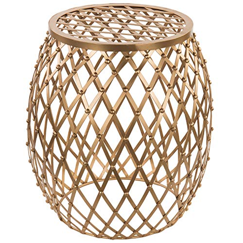 MyGift 18-inch Bohemian Openwork Lattice Design Gold Metal Accent Stool/Decorative Display Stand/Patio Side End Table