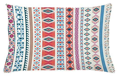 Tribal Throw Pillow Cushion Cover by Ambesonne, Geometric Ethnic Motifs Pattern Vertical Striped Background Native American Design, Decorative Accent Pillow Case, 26 W X 16 L Inches, Multicolor