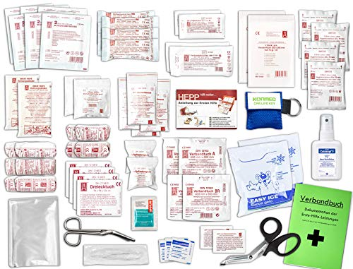 Komplett-Set Erste-Hilfe DIN 13169 EN 13 169 PLUS 2 für Betriebe inkl. Hände-Anitsept-Spray & Notfallbeatmungshilfe