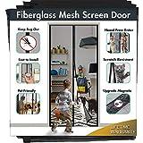 Magnetic Screen Door IKSTAR Sliding Screen Door with Full Frame Magic Tape Instant Double Mesh for Front Door Bug Out Kids/Pets Walk Through (Fiberglass, 39'x83')