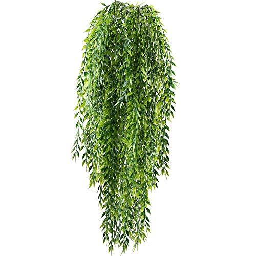 HUAESIN Künstliche Hängepflanze 2 Stück Künstliche Hängende Pflanzen Efeu Weidenblätter Kunstpflanze Hängend Plastikpflanzen für Innen Außen Wand Topf Garten Balkon Hochzeit Zuhause Deko Grün
