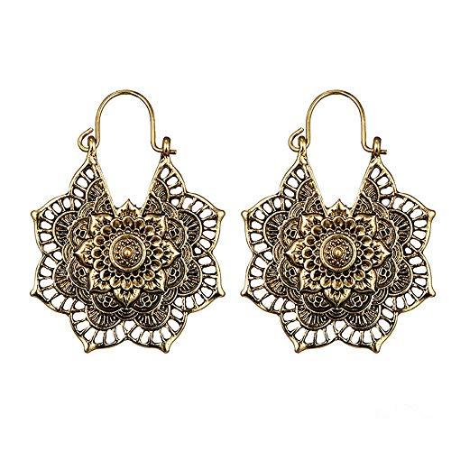 SSYUNO - Pendientes de plata envejecida con diseño de mandala indio tribal étnico bohemio