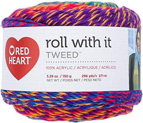 Red Heart Roll with It Yarn Tweed-Crayons
