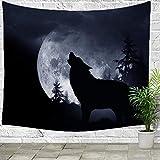 FELENIW Felenow Wandteppich, Vollmond-Nacht, wildes Tier Wolf heulend im Wald, Wandbehang, Decke, Dekoration, Tisch, Schlafzimmer, Wohnzimmer 60x50 inches 1