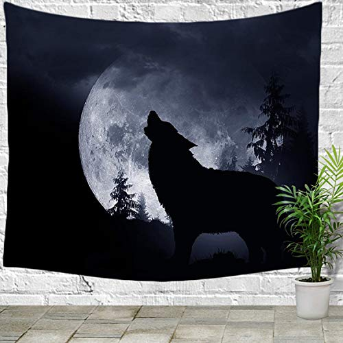 FELENIW Full Moon Night Wild Animal Wolf Howling in The Forest Trees Tapestry Wall Hanging Tapestry Blanket Decorate Home Table Bedroom Living Room (60x40 inches)