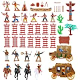 NWFashion West Cowboys Native American Indians Plastic Figure Soldiers Toys Playset Accessories