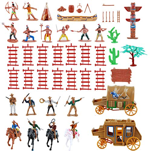 NWFashion 55PCS West Cowboys Native American Indians Plastic Figure Soldiers Toys Playset Accessories