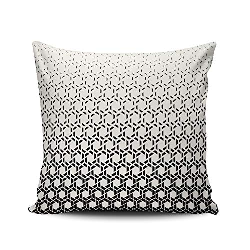 RGEMK Home Decoration Pillowcase Cushion Cover Abstract Trendy Black and White Halftone Geometry Throw Pillow Case Chic Design Double Sided Printed Square Size 16 x 16 Inch