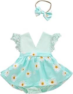 Newborn Infant Toddler Baby Girls Romper Dress + Headband 2Pcs Cloth Outfits, Ruffle Sleeveless Jumpsuit Sets