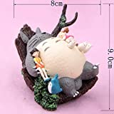 ZAMTAC Resin Japan Style Totoro Sleeping Scene Wind Chimes Scenes Animal Figurines Desktop Potted Garden Decoration Crafts Miniatures - (Color: A)