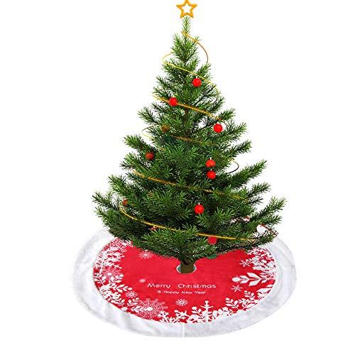 ZUZEN Christmas Tree Plush Skirt,48'' Small Red & White Fur Tree Skirt with Snowflake,Double Layers Xmas Tree Skirt for Christmas Decorations