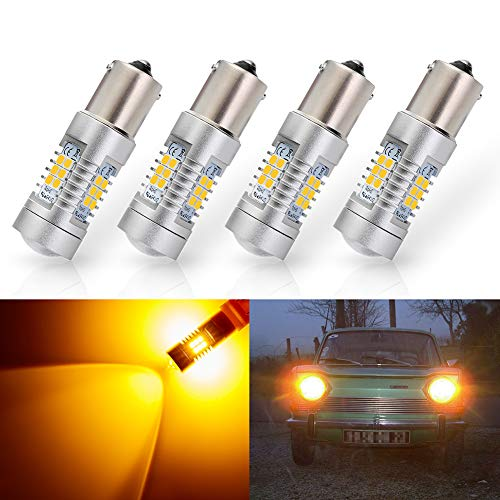 ANTLINE Extremely Bright 1156 1141 1003 7506 BA15S 21-SMD 2835 Chipsets 1260 Lumens LED Bulb Replacement Amber Yellow for Car RV Interior Turn Signal Blinker Side Marker Lights Bulbs (Pack of 4)
