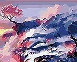 Pintar por Numeros Adultos Paisaje Chino Paint by Numbers con Pinceles y Pinturas Decoraciones, DIY Conjunto Completo de Pinturas para el Hogar (40x50cm, Sin Marco)
