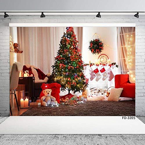 QYH Kerstboom Witte Gordijn Woonkamer Fotografie Achtergronden Aangepaste achtergrond Voor Kinderen Baby Douche Fotocall Fond Photo-60X40Cm_2X1.3Ft