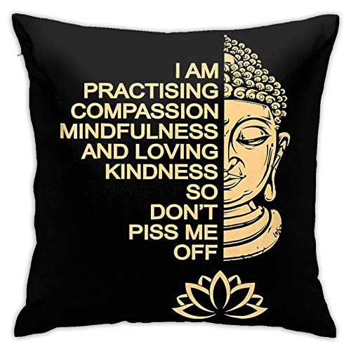 Medita-Tion Buddha Pillow Cover Bedding Outdoor Indoor Square Cushion Covers for Home Sofa Couch One Size