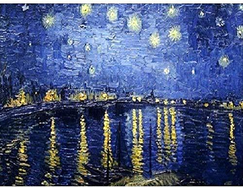 Obanban Malen nach Nummer DIY Kit - Van Gogh Fluss Sternenhimmel - Wandkunst 40x50cm Ölgemälde auf Leinwand mit Acrylpigmenten - Kind für Erwachsene und Anfänger Geschenk (Ungerahmt)