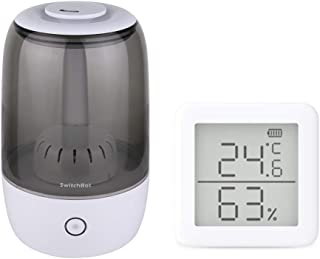SwitchBot Wi-Fi スマート加湿器 3.5L 大容量 + デジタル 温湿度計 スマート家電 – 高精度 スイス製センサースマホで温度湿度管理 アラーム付き