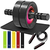 KIPRITII 8 in 1 Set of Workout Equipment for Home Workouts - Ab Roller with Knee Pad, 5 Resistance Bands Exercise Bands, Jump Rope, Fitness Equipment for Women and Men