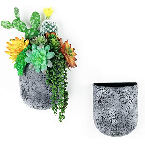 LA JOLIE MUSE Wall Hanging Planter - Vertical Wall Mounted Flower Pots with Hanging Holes, Succulent Wall Planter Pots for Outdoor Indoor, Rock Gray