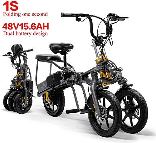 Lincjly 2020 Upgraded 2 Batterien 48V 350W Faltbare Mini Tricycle Elektro-Dreirad 14 Inches 15.6Ah 1 Sekunde High-End Elektro-Dreirad Folding Leicht, Reise frei