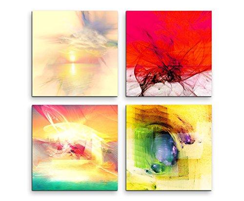 4 Pcs. Mural images par 30 x 30 cm sur toile et cadre en bois – abstrait art Couleurs Tendance été Quartz Rose Pastel