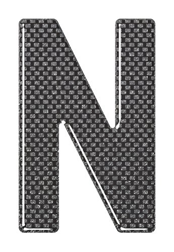 3D Resin/Gel Domed Self Adhesive Number Plate Letter 'N' (Carbon)