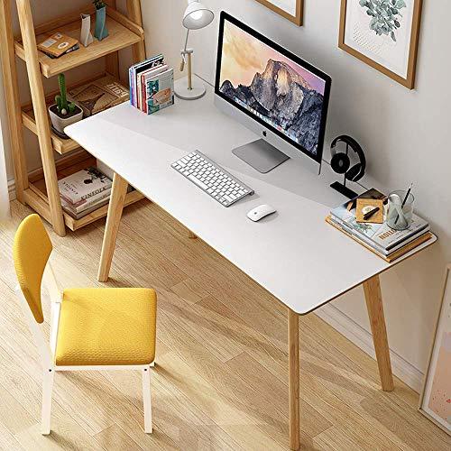 FSXJD Computer Desk Solid Wood Office Desk Nordic Modern Study Desk Conference table For home Office-80x50cm White