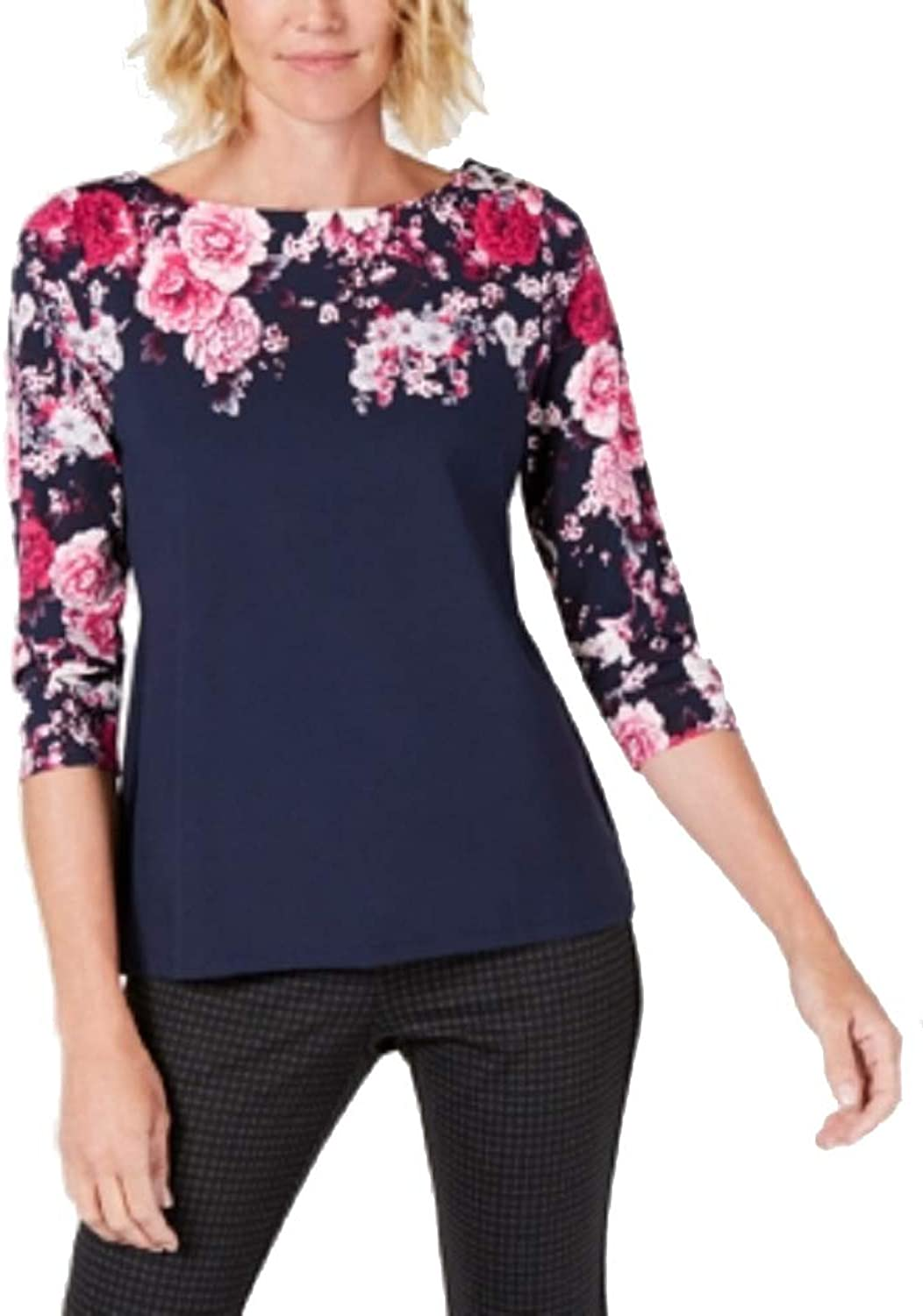 Charter Club Printed Boatneck Top
