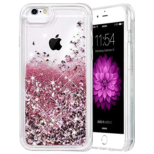 Caka iPhone 6 6S 7 8 Case, iPhone 6 6S Glitter Case with Tempered Glass Screen Protector for Girls Bling Flowing Floating Glitter Sparkle Soft TPU Liquid Case for iPhone 6 6S 7 8 4.7 inch (Rose Gold)
