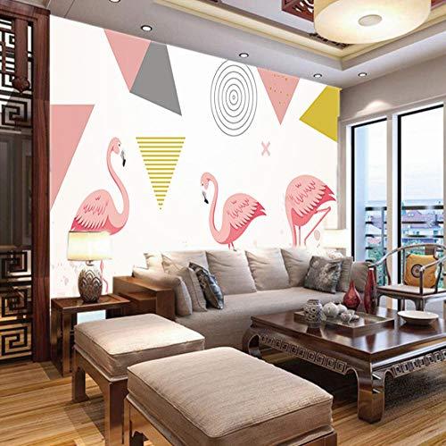 Fotobehang 3D Geometrische Flamingo, 150X100Cm Grote Poster Woonkamer Slaapkamer Tv Achtergrond Wanddecoratie 400x280cm