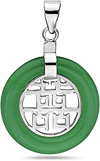 925 Sterling Silver Green Jade Twin Fortune Chinese Character Filigree Pendant Necklace 18 inches Chain