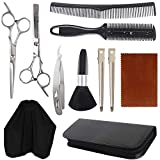 sorliva 11 Pcs Hair Cutting Shears Set for Professionals & Beginners,Hair Cutting Scissors,Thinning Shears,Hair Razor Comb,Clips,Cape,Brush,Hairdressing Scissors Kit,Home Barber Kit