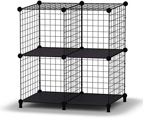 4 Cube Wire Storage Shelves, DIY Wardrobe Closet Cabinet Bookcase Bookshelf, Space Saving Metal Mesh Grid Storage Rack Organizer for Office School