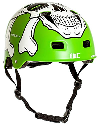 AWE® MEET YOUR MAKER™ BMX Verde 55-59cm del casco REEMPLAZO LIBRE de 5 AÑOS del CRASH *