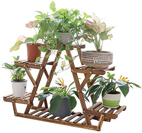 フラワースタンド 木製 ガーデンラック 4段 ガーデニング 棚 高さ58cm プランター スタンド 花台 植木鉢 台 盆栽 園芸 ラック 屋外/室内 木目
