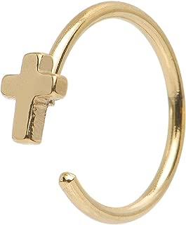 Gold IP Stainless Steel Cross Nose Stud Hoop 20 Gauge
