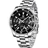 BENYAR Men's Watches Chronograph Watch for Men Multifunction Black Waterproof Sport Fashion Quartz Wristwatches Calendar with Stainless Steel Strap…