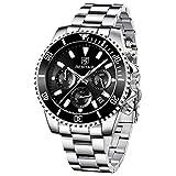 BENYAR Reloj para Hombre Cronógrafo de Cuarzo 3ATM Relojes Impermeables de Acero Inoxidable Esfera Negra Reloj Deportivo de diseño Deportivo Informal para Hombres