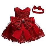 Unbekannt Allence Baby Mädchen Bowknot Spitze Prinzessin Kleid 2tlg Set Bowknot Spitze Taufkleid Festlich Kleid Hochzeit Party Festzug Taufe Tutu Kleid 0-2 Jahre (12M/6-12 Monate, Rot)