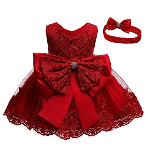 Unbekannt Allence Baby Mädchen Bowknot Spitze Prinzessin Kleid 2tlg Set Bowknot Spitze Taufkleid Festlich Kleid Hochzeit Party Festzug Taufe Tutu Kleid 0-2 Jahre (3M/ 0-3 Monate, Rot)