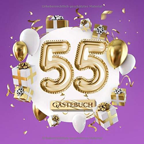 55 - Gästebuch: Lila Deko zum 55.Geburtstag für Mann oder Frau - 55 Jahre Geschenk - Party Gold Violett - Buch für Glückwünsche und Fotos der Gäste