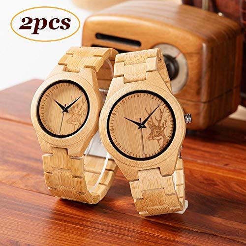 N·XHXL Conjunto de Las Mujeres de bambú del Reloj a Juego, 2 Piezas de los Hombres de Elk y Creative Parejas de Madera de Cuarzo Relojes de Pulsera, único para un Amante