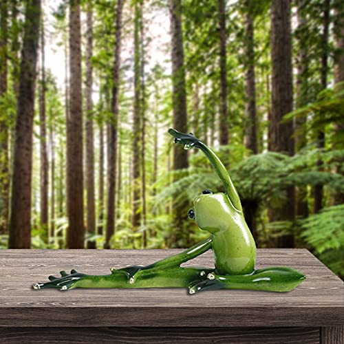 Zoomarlous Figura decorativa 3D de ranas de yoga con forma de rana verde en 3D para dormitorio o salón