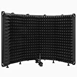 Microphone Isolation Shield, 5-Panel Pop Filter Professional Foldable Vocal Booth High Density...